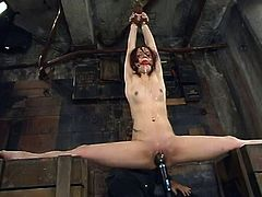 Slim redhead girl gets undressed and then hog tied. Later on the master fingers and toys her juicy vagina.