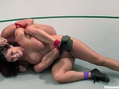Curvaceous Claire Dames tries to win Vendetta. But Vendetta is one of the toughest fighters, so Claire loses. That is why she gets pounded with a strap-on after a fight.