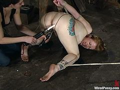 Adrianna Nicole gets bound by some dominant milf in a basement. Then she gets her cunt pinched and pounded with a wired dildo and enjoys it much.