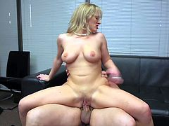Chubby boss Anthony Rosano makes his curvy provocative blonde secretary Vicky Vixen with huge ass. He makes her scream loud while pounding that wet twat in doggy style position.