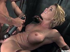 Krissy Lynn enjoys Mr. Pete's dick in her vag and hot wax on her belly