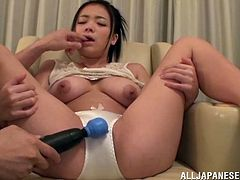 A horny man with lots of toys and vibrators masturbates and touches Kana Tsuruta pussy and gets her horny and wet for his pleasure.