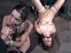 Both of these sex slaves have hungered for some pain and they are not requesting any mercy! Man in mask is doing his job right.