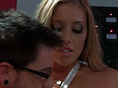 Hefty blonde trollop is wearing fancy dress, white nylon stockings and high heel shoes. She gets down on her knees sucking big dick deepthroat. The guy grabs her hair pushing his dick deep in her throat. Later on he eats her pussy dry.