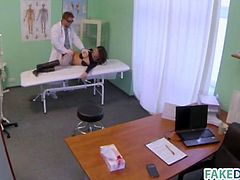 Hot babe at fake hospital getting her pussy checked