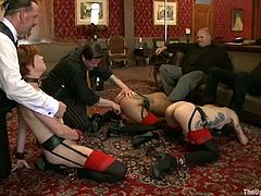 These three girls get tied up. Then they shake their asses for their master and get fingered. Later on they give a blowjob to the guy.