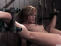 Sexy Ariel gets bonded with a special BDSM equipment. She gets her legs spread wide. So, she gets her pussy drilled with a vibrator and a fucking machine.