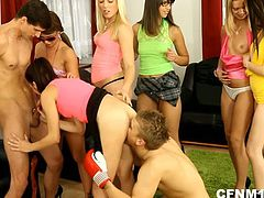 CFNM 18 sets a hell of an orgy in this awesome free porn video. Watch how these blonde and brunette teen bitches start a wild sex party and ride hard cocks into kingdom come.