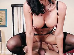Keiran Lee fucks Lezley Zen with juicy breasts in her mouth as hard as possible in oral action