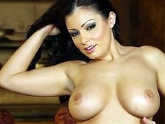 Staggering beauty Aria Giovanni shows off her alluring forms during naughty solo action