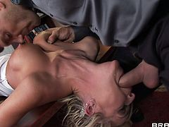 Well-endowed guy fucks cleavage of gorgeous blonde Mckenzee Miles