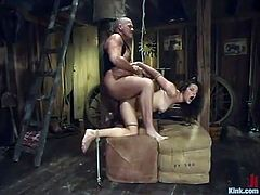 Brunette hottie Bobbi Starr allows Mark Davis to tie her up in a shed. Mark fucks Bobbi's mouth and then drills her nice juicy vag from behind.