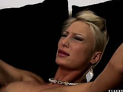 Blonde Katy Parker with huge boobs knows no limits when it comes to eating Pearl Diamonds cunt