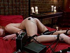 Brooklyn Lee gets her ass toyed with electro dildo