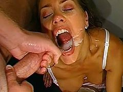 Horny beauty likes having her shaved ass drilled well in naughty threesome porn