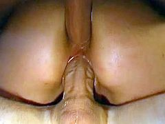 After getting banged in nasty threesome, lusty Kiki enjoys warm loads down her throat