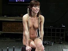 Hot dark-haired chick Gia Dimarco is getting naughty with some dude in a basement. She lets the man tie her up and then gets her twat and ass banged by a fucking machine.