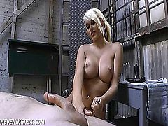 Katie gives a handjob to somebody who in turn was supposed to learn a lesson.