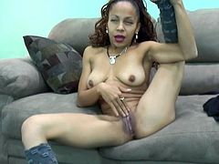 Flexible chick throws her leg over head and masturbates her dark pussy in front of a cam. Be pleased with hot and exciting sex tube video featuring provocative girl who dreams of rough fuck.