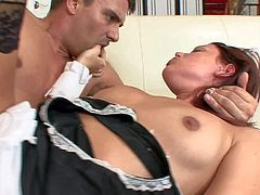 Young cute brunette housemaid Lizzie Tucker with medium boobs and long sexy legs in fishnet stockings and high heels seduces wild boss Toni Ribas and gets pounded to memorable orgasm.