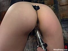 This sweetest siren Lena Ramon is under the possession of Audrey Leigh! She get bondaged and then her mistress runs a fucking machine deep in her pussy! Wires are also here!