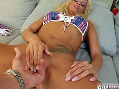 Two cocks for blonde whore