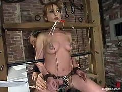 This bound girl gets her tits pinched with steel claws. After that she gets her pussy destroyed by the fucking machine.