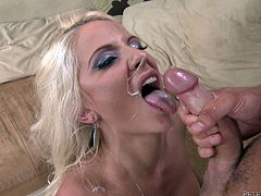 Awesome blonde babe Caroline De Jaie makes out with some lucky dude and favours him with a great blowjob. Then they fuck in cowgirl position and Caroline gets jizz on her beautiful face.