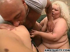 Fat sluts with huge boobs give a double blowjob. Then they lick each others tits and gets pounded in crazy threesome video.