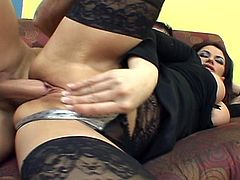 Sexy brunette mommy is ready for everything.Yes she is even ready for two big cocks in exchange of a job.Watch how these two horny studs with huge cocks fucks her both hole hard and deep.Nice threesome hardcore video with double penetration scene.