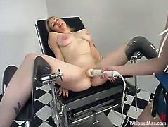 Lovely blonde with big nipples gets whipped and pinched by claws. Later on she also gets her vagina toyed with a strap-on and a vibrator.