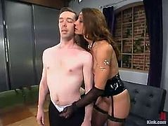 Nasty brunette mistress toys Michael J Cox in his ass. Then she also rides his dick and whips him painfully. This dude also has to suck a strap-on like it is a real dick.