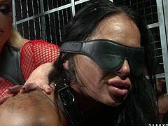 Cruel blond mistress makes one seductive brunette kneel down and lick her pussy. Enjoy watching provocative lesbian BDSM sex video produced by 21 Sextury site.