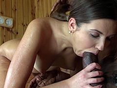 Watch this horny and slutty bitch suck that large cock of her friend in the sauna in front of the camera in DDF NEtwork sex clips.