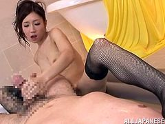 Beautiful Japanese girl in fishnets gives a blowjob, atitjob and a handjob to lucky man. Then she rides his cock in hot POV video.