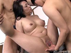 Sexy Japanese mom Neko Ayami seduces two dudes and has fun with them in the kitchen. The men caress the milf and then fuck her wet pussy by turns.