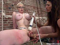 Piercedangel gets her ass spanked really hard by unmerciful Kym Wilde. After that the blonde sucks big dildo and gets toyed in her vagina.