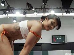 Sexy Asian chicks DragonLily and Tia Ling beat each other on tatami and get horny. Then they pet each other and make ardent lesbian love right there.