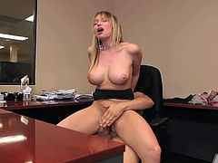 Maya Hills is a dangerously sexy babe with huge fake tits and tight smooth pussy. She rides dudes stiff dick with wild passion at the office. She sucks his dick after pussy and then gets banged again.