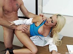 Sultry blonde wench Breanne Benson is fucked hard doggy style