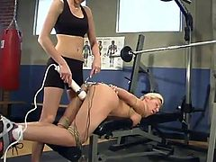 Amazing blonde girl gets tied up and then toyed deep with an electric dildo. After that she also gets drilled by a fucking machine.