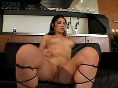 Sexy brunette Petty Pol gets two hard cocks in her holes at same time and she can not wait to enjoy in wild sex before they cum on her face.