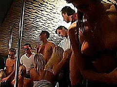 Shameless club sluts sucking dicks and licking pussies in public