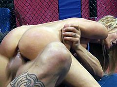 Classy blonde whore Jessica Drake gets fucked by mix fighter on ring