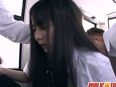 Mana Katase is a hot japanese babe and she always enjoys public fuck. A bunch of strangers made her sucking their cocks and fucked that hairy snatch!