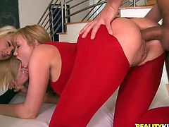 This amazing CFNM group sex scene features two hot girls, redhead and blonde, who love sucking cocks and getting their asses banged in doggystyle.