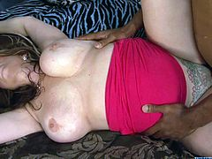 There are some big tits on this bitch involved in some interracial fucking. She loves the big black cock and can take it deep and hard all day long.