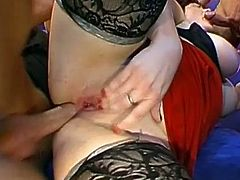 Hot milf goes wild having two cocks pounding her juicy holes in RPG threesome