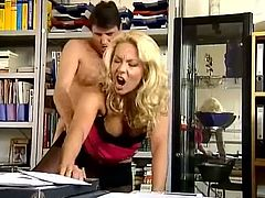 His secretary is one fantastic blonde babe that adores his long prick, so ever day when they finish their day at job, they do hardcore fucking in his office