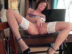 45 year old British housewife, Lucy Heart, debuts in her very first erotic videos! Lucy is a stunning housewife with large suckable nipples and a pierced shaved pussy. She is eager to show you how she likes to please that cock hungry twat of hers!
